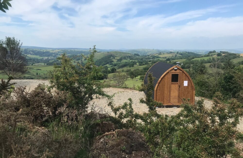 Our new 'mountain top' sauna sits high on the hill behind the cottage.
